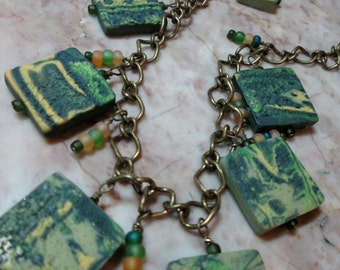 Necklace of handmade green beads