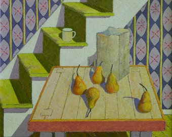 """Art Original Oil Painting Still Life Country Kitchen Pear Wall Paper Bag Table Yellow Shadow Fruit Food Quebec Canada Audet """" The Stairs """""""