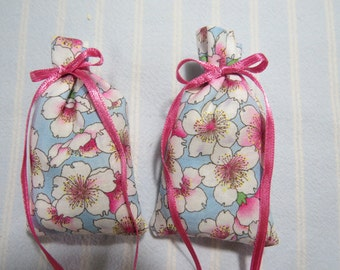 "Blue 3""X2"" Sachets-'Icy Apple' Fragrance-Pink and White Sachet-Herbal Cotton Fabric Sachet-Pink Ribbon-Cindy's Loft-350"