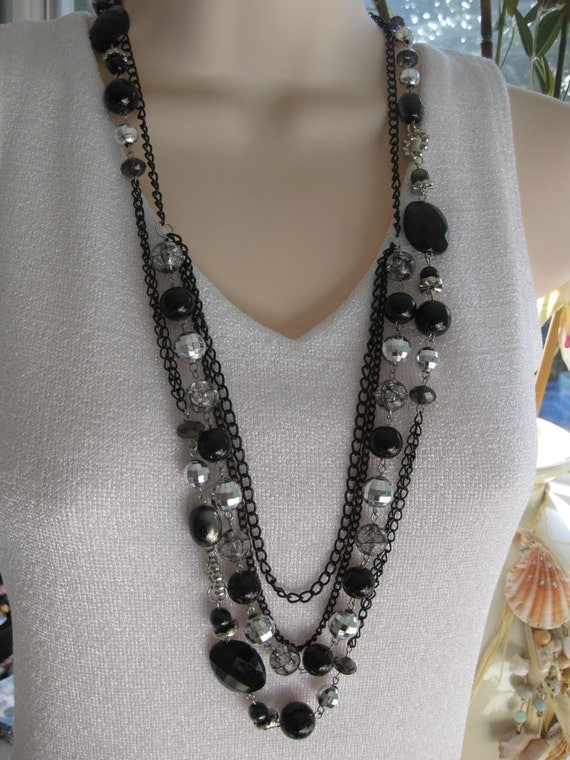 black beaded necklace chunky black beaded by