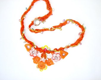 Hand Crocheted  lace. vintage antique  laces ,glass  bead embroidery bib  necklace