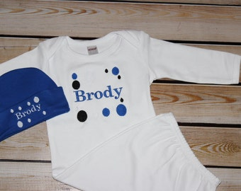 Personalized Baby Boy Gift Set Gown and Hat Royal blue dots