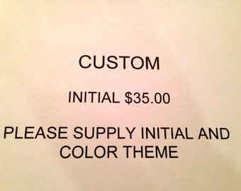 CUSTOM 9 inch Button Initial ~ Personalized Gift ~ Wedding Gift ~ Boho Art ~ Gift for Her ~ Shower Gift ~ Shabby Chic Art ~ Custom Gift