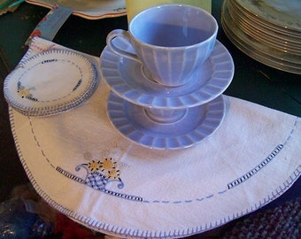 Floral Vintage Embroidered Doily and Coaster Set