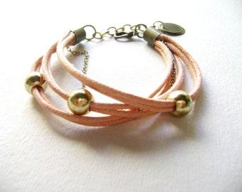 Bohemian Soft peach cotton cord and gold  - affordable boho bracelet - stacking bracelet - strands bracelet - urban style everyday jewelry