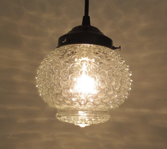 Vintage Hobnail Globe PENDANT Light Created New by LampGoods