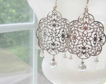 Silver Filigree Earrings Bridal Pearls by MinouBazaar