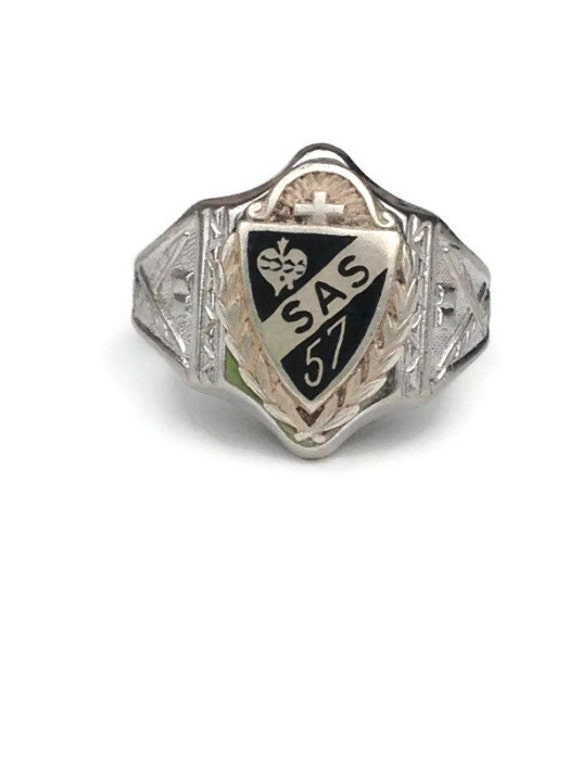1950s sterling silver class ring with black by