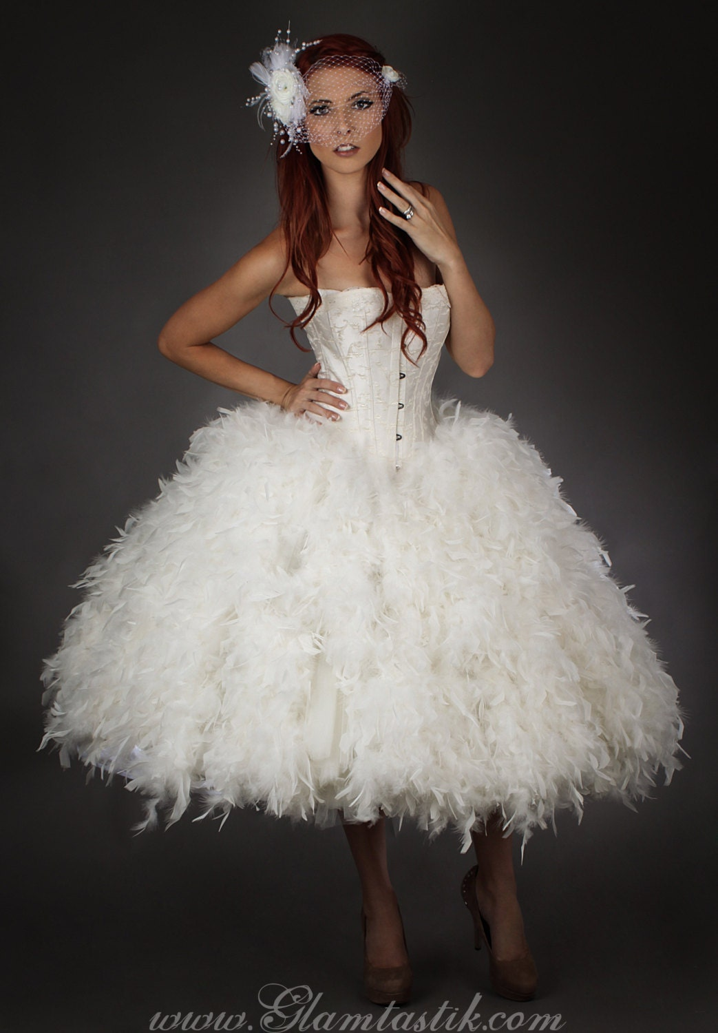 Custom size ivory steampunk burlesque corset feather and tulle for Have wedding dress made
