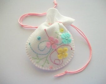 Wedding Ring Holder or White Gift Bag with Hand Embroidered Pastel Felt Flowers and Swirls Handsewn