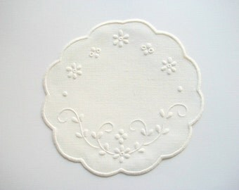 White Linen Doily White Work Hand Embroidered Heirloom Quality