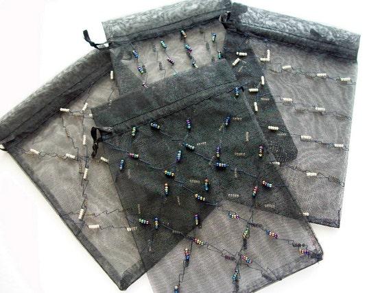 Black Gift Bags Sheer Organza Drawstring Bags Hand Beaded 4 pcs