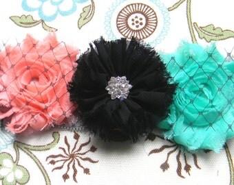 Flower Elastic Headband - Black Chiffon Flower Peach & Aqua Shabby flowers, birdcage netting Grey Elastic Headband baby newborn toddler teen