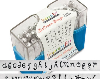 Ballroom Boogie LOWERCASE Letter Alphabet Metal Stamp Set 3mm Font 1/8 inch ImpressArt Jewelry Stamps Hand Stamping Tools