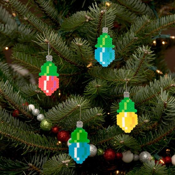 8-Bit Pixel Art Christmas Light Ornaments (set of 4)