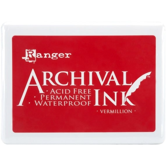Jumbo Fabric Ink Pad (Red Vermillion Ranger Archival Jumbo Ink Pad) Good on Fabric and Muslin Bags • Vermillion Jumbo Ink Pad • Red Ink Pad