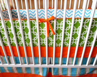 Ready to Ship- Upgrades included- 3 piece Orange, Turquoise, and Lime Crib Bedding Set- Bumpers, Sheet, and Skirt