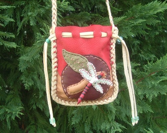 SALE!!! was 145.00 now 99.00 BEAUTIFUL Leather Medicine Bag with a Dragonfly design on the front