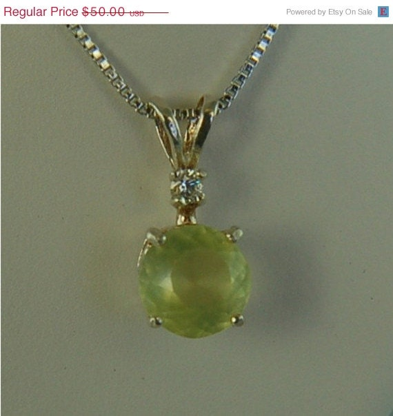 Prehnite Necklace Sterling Silver 8mm Round 1.70ct Accented with Cz