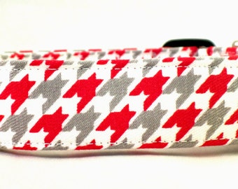 Red White and Gray Houndstooth Dog Collar