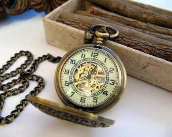 "Pocket Watch - Antique Bronze includes 15"" Pocket Watch Chain - Mechanical Watch - Steampunk - Groomsmen Gift - Watch - Item MPW780"