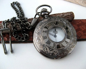 Black Engraved Pocket Watch with Watch Chain - Quartz Pocket Watch - Includes Battery - Free Gift Wrapping - Watch - Item QPW01