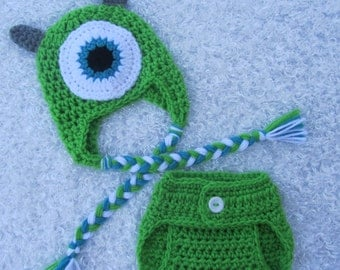 Newborn Set - Monster's Inc - Mike Wazowski - Ear Flap Hat - And Diaper Cover - Photographer's Prop - Made To Order