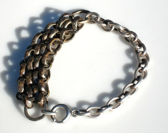 Vintage Silver Watch Chain Bracelet - Altered
