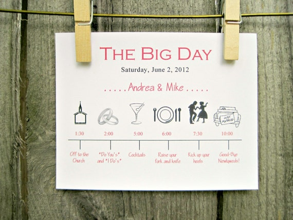 Wedding Timeline Invitations: Wedding Day Timeline Schedule Of Events By OneTenStationery