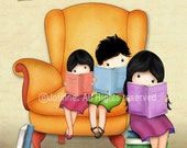 Three kids reading a book wall art, kids room art, book nook wall art, kids art, childrens wall decor, brother sister art,art for library