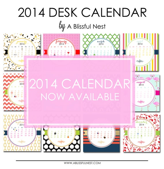 2014 Calendar, Desk Calendar, Includes Lucite Stand - Monthly Calendar Pages