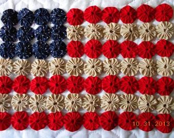 Americana Farmhouse Primitive Patriiot Yo Yo Flag KIT, Learn to make yo yos.