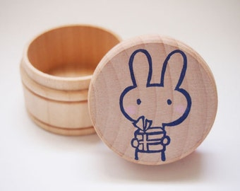 Bunny Rabbit with Gift in Hand Wooden Gift Box