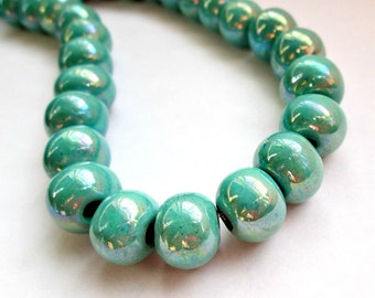 Round greek ceramic beads, enameled beads, turquoise, 12mm - 8 pieces