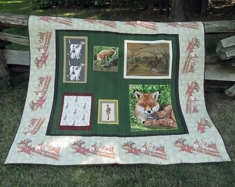 MADE TO ORDER Fox Hunt Wall Hanging or Lap Quilt