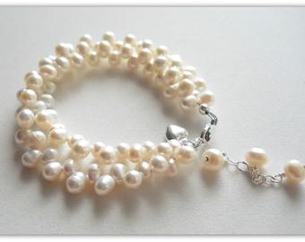 Double Strand Zig Zag Freshwater Pearl Child Bracelet B106