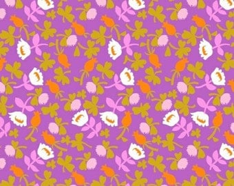 Briar Rose Heather Ross Fabric Calico Flowers in Lilac Purple