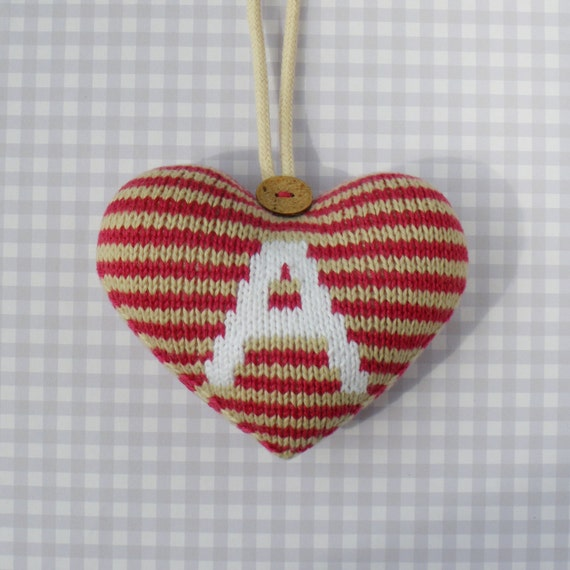 Hanging Heart Knitting Pattern : Personalised Hanging Heart decoration knitting pattern ...