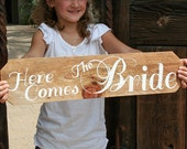 Rustic Wedding Sign Here Comes the Bride by Rule42