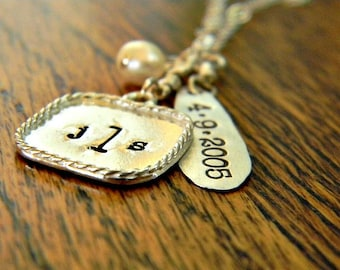 monogram, wedding, personalized, hand stamped necklace with date, sterling silver