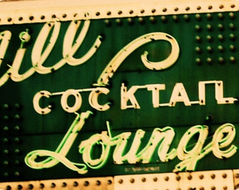 Chicago Photography, The Green Mill Cocktail Lounge, vintage sign, jazz club, Uptown, 20s, 30s, green, cream, 5x7 Print, GREEN MILL (TEASE)
