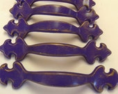 "FREE SHIPPING 6  Fleur de Lis Drawer Pulls Purple Gold New Orleans Saints Royal Paris Apartment 3"" Centers Set of 6"