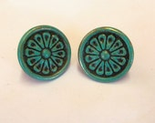 "2 Drawer Pulls Flower Knobs Metal Verdigris Patina 1-3/8"" Set of 2"