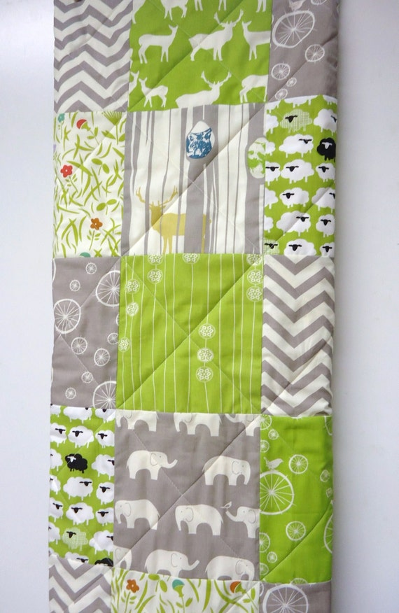 Baby Quilt Gender Neutral Modern Organic Patchwork Crib