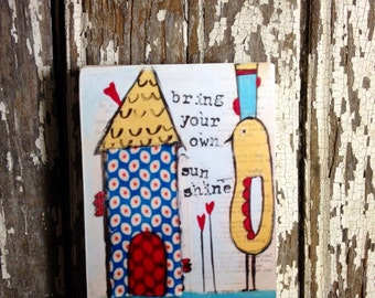 ACEO  On Wood Block (2.5 x 3.5 Inches Print) with bird and house