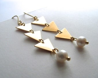 Gold triangle and pearl drop earrings, 14k gold plated fixtures, bridal, vintage-inspired, geometric jewelry