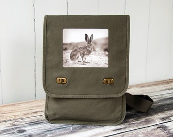 Vintage Jack Rabbit - Vintage Photograph from 1920's - Field Bag - Messenger Bag - School Bag - Canvas Bag