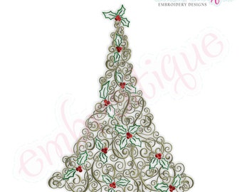 Twirly Tannenbaum Christmas Tree - LARGE - Instant Email Delivery Download Machine embroidery design