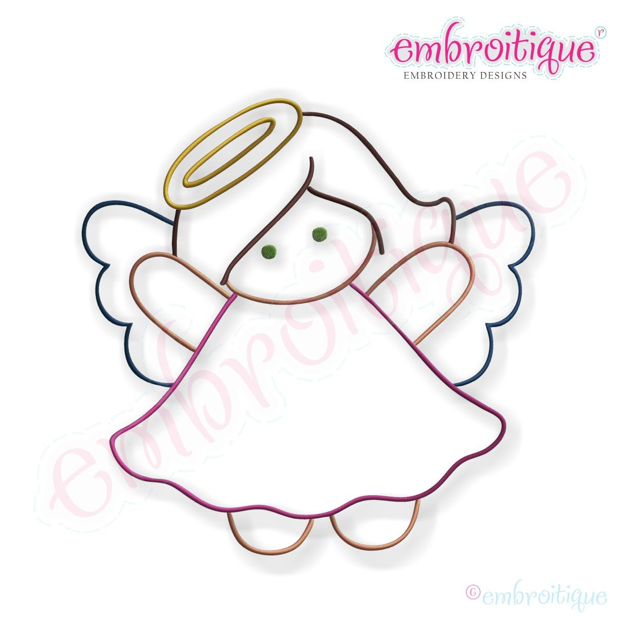 Simple Christmas Angel Embroidery Design Small Instant