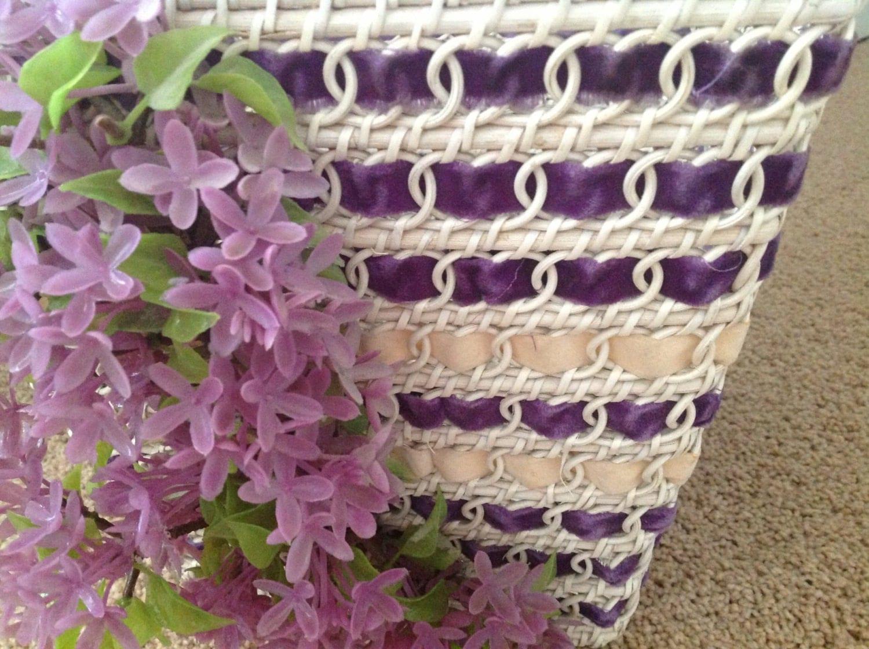 White Wicker Waistbasket Shabby Chic Trash Basket Purple